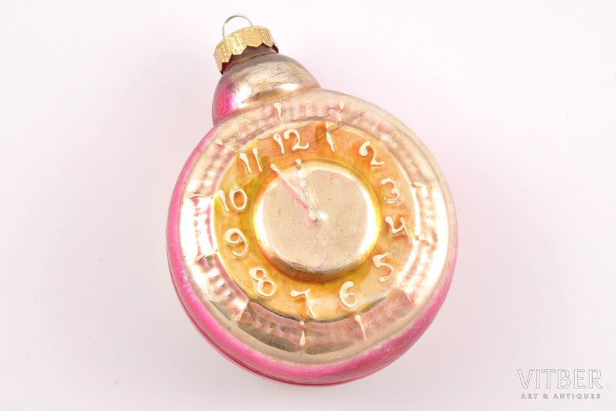 "елочная игрушка, ""Часы"", 1-я половина 20-го века, 11.3 x 8.8 см"