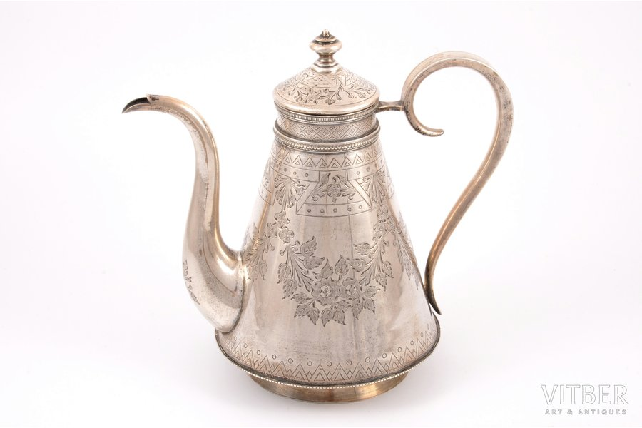 teapot, silver, 84 standart, engraving, 1880, silver weight 473.10g, by Ikonnikov S. M., Moscow, Russia, h 18.5 cm