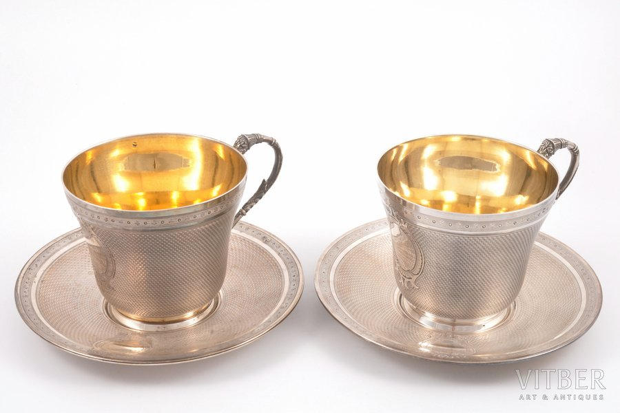 2 tea pairs, silver, 950 standart, gilding, the border of the 19th and the 20th centuries, 558.25 g, France, Ø (saucer) 15.3 cm, h (cup) 8 cm