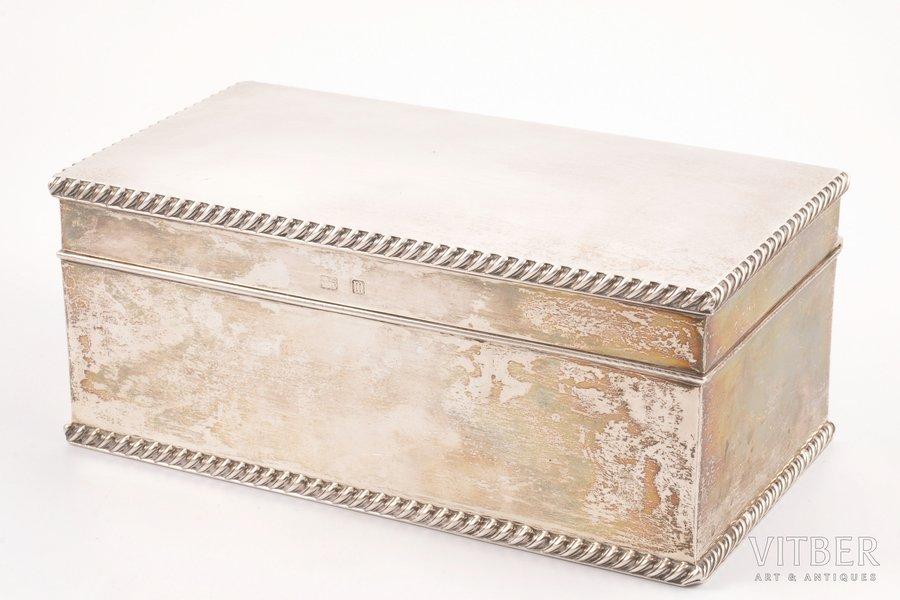 шкатулка, серебро, 925 проба, 1911 г., 1050 г, Лондон, Великобритания, 20.8 x 11 x 8.5 см