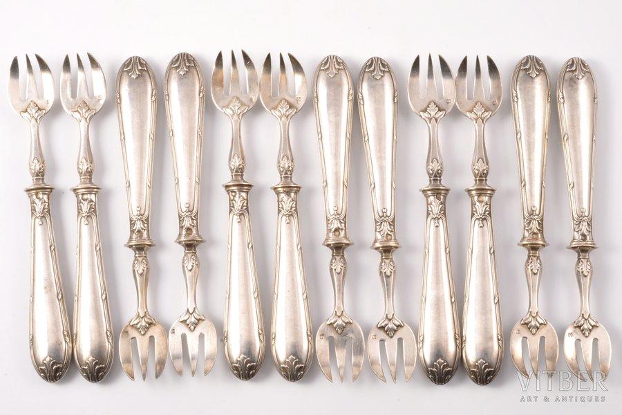set of 12 oyster forks, metal, silver, 950 standart, the 19th cent., (total) 347.30g, France, 14.5 cm