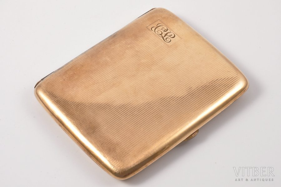 cigarette case, W&H Co, gold filled, metal, USA, the beginning of the 20th cent., 10.5 x 8 cm