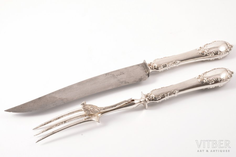 flatware set, silver, 950 standart, the border of the 19th and the 20th centuries, 261 g, Paris, France, 27 см, 32 cm