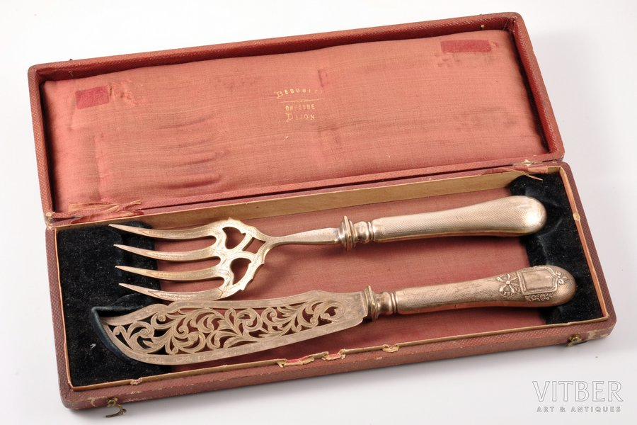 flatware set,  metal, silver, in a case, 950 standart, the beginning of the 20th cent., (total) 305.35g, France, 29.5 cm, 27 cm
