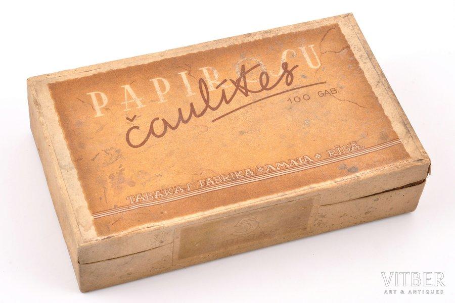 """гильзы для папирос, нераспечатанная коробка, табачная фабрика """"Амата"""" в Риге, Латвия, 15.7 x 9.4 x 3.8 см"""