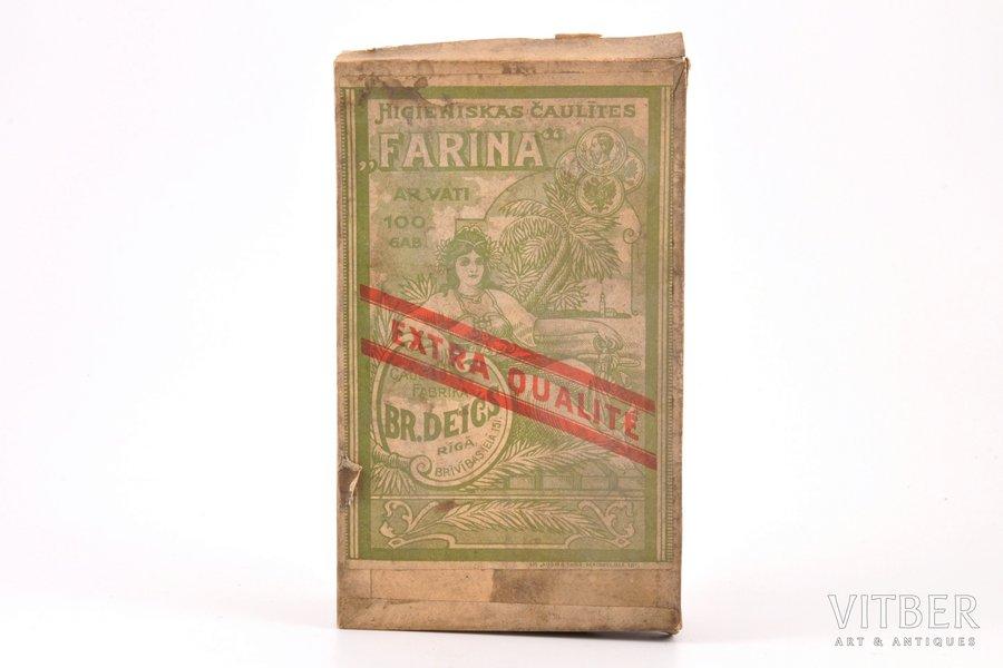 """cigarette-wrappers """"Farina"""", unopened box, factory """"Br. Deičs"""" in Riga, Latvia, 15.6 x 9.4 x 3.6 cm"""