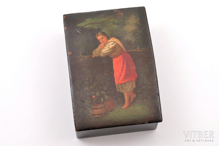 шкатулка, Федоскино, СССР, 1955 г., 15.4 x 10.5 x 5.2 см