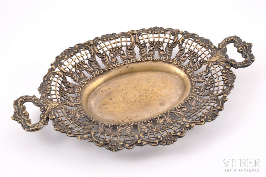 fruit dish, Fraget w Warszawie, silver plated, Russia, Congress Poland, the 2nd half of the 19th cent., 32.5 x 20.5 cm