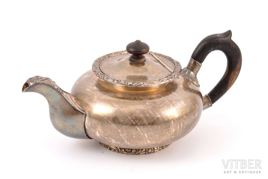 small teapot, Warszawa Fraget, silver plated, Russia, Congress Poland, ~1840, h 10.5 cm