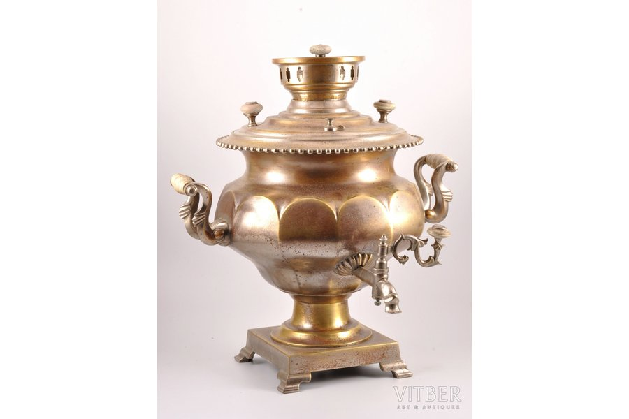 "samovar, Братья Воронцовы, shape ""faceted vase"", brass, nickel plating, Russia, the border of the 19th and the 20th centuries, h 42 cm, weight 7300 g"