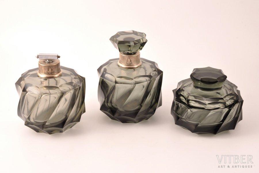 parfimērijas komplekts, sudrabs, 800 prove, stikls, 3 priekšmeti, Eiropa, h 14.3 / 12.5 / 9.2 cm