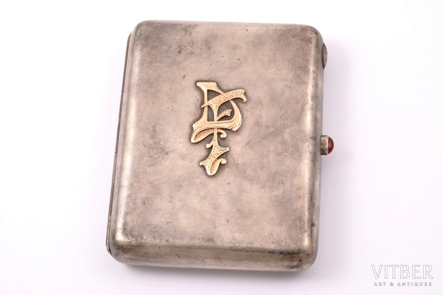 cigarette case, silver, 875 standart, gold overlay, the 20-30ties of 20th cent., 233.70 g, by Robert Pone, Latvia, 11 x 8.5 x1.8 cm