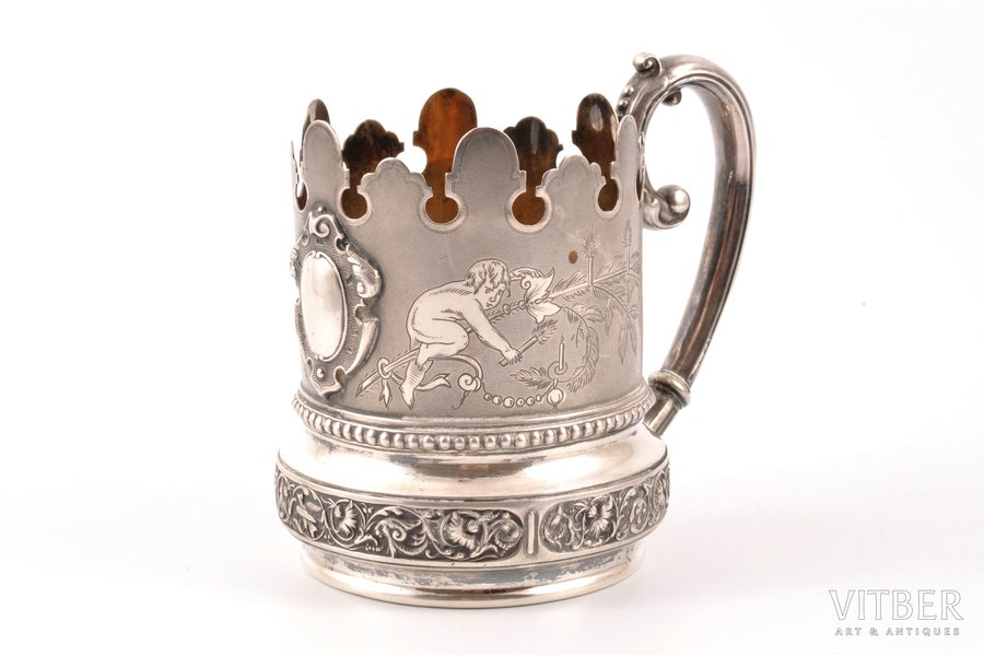tea glass-holder, silver, 84 standart, 1887, 170.30 g, by Richard Muller, Riga, Russia, h 10 cm