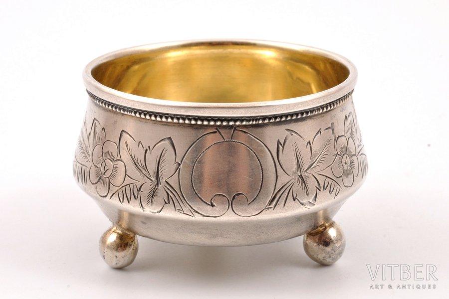 saltcellar, silver, 84 standart, engraving, 1895, 49.35 g, Moscow, Russia, Ø 6.15 cm
