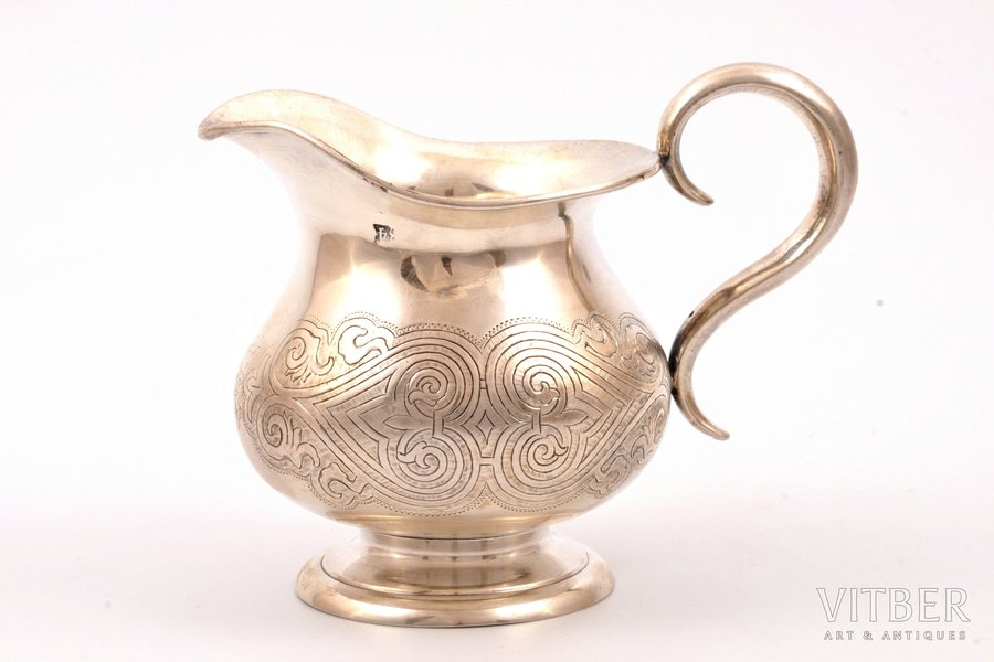 cream jug, silver, 84 standart, engraving, 1862, 110.90 g, Moscow, Russia, h 8.5 cm