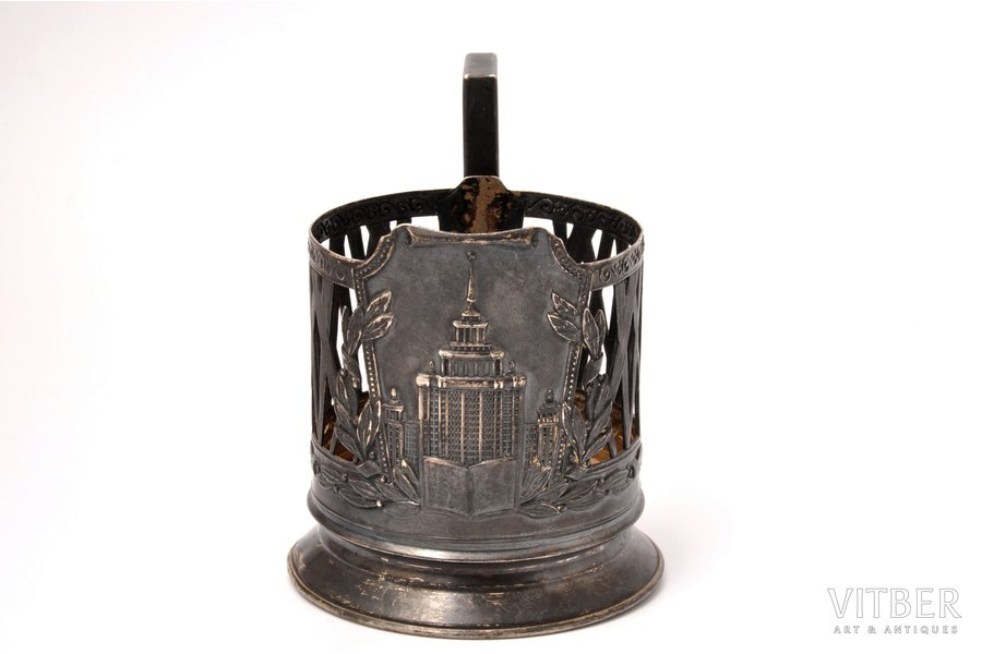 "tea glass-holder, silver, 875 standart, The building of Moscow State University, 1953, 108.70 g, ""Moscow Jeweller"" artel, Moscow, USSR, h 9.8 cm, Ø (inside) 6.7 cm"