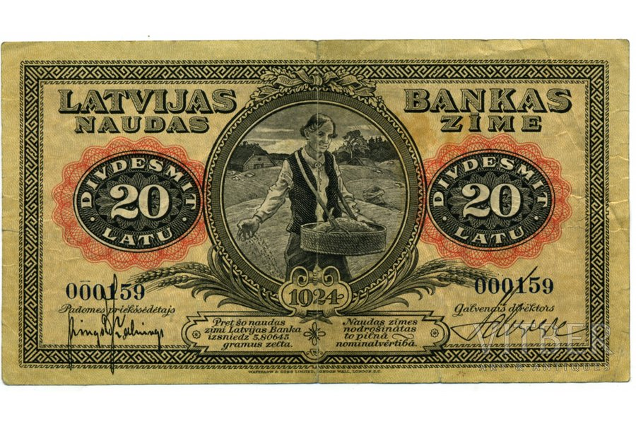 20 lats, banknote, 1924, Latvia, ADDITIONAL PHOTOS ON ENLIGHTENMENT