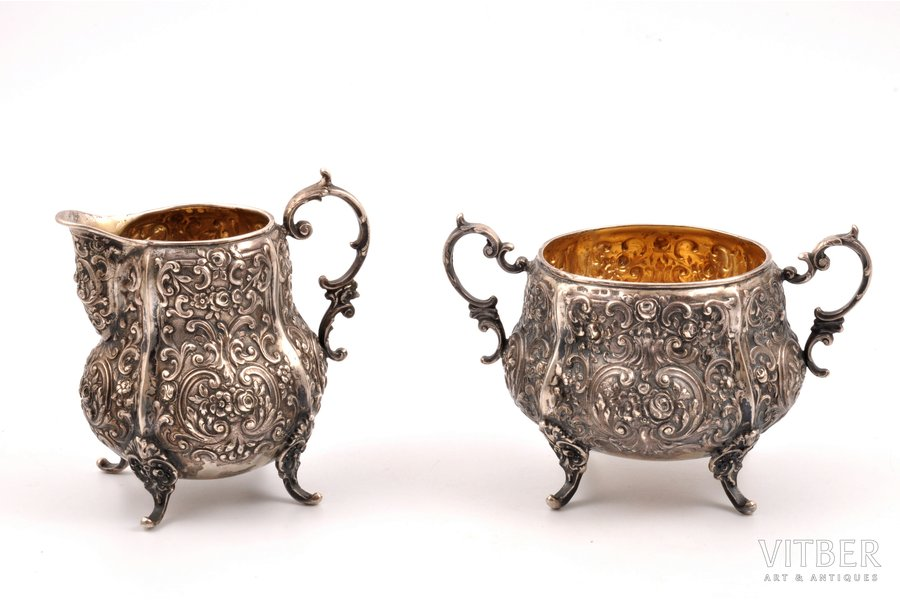 set of sugar-bowl and cream jug, silver, 813 standart, silver stamping, 1937, 301.2 g, (150.45 + 150.75)g, Helsinki, Finland, h 9.9 / 8.4 cm