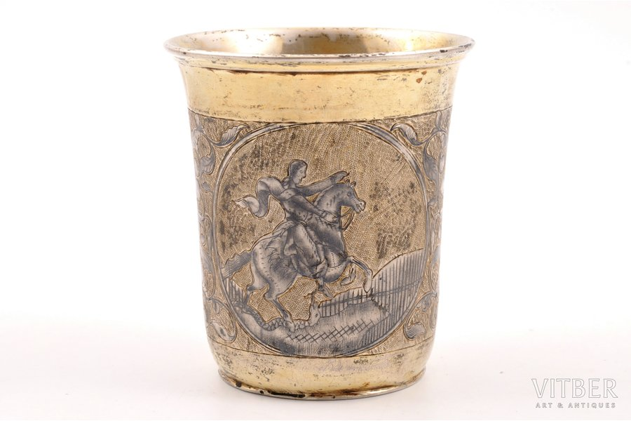 goblet, silver, 84 standart, engraving, niello enamel, the beginning of the 19th cent., 96.40 g, Moscow, Russia, h 7.7 cm