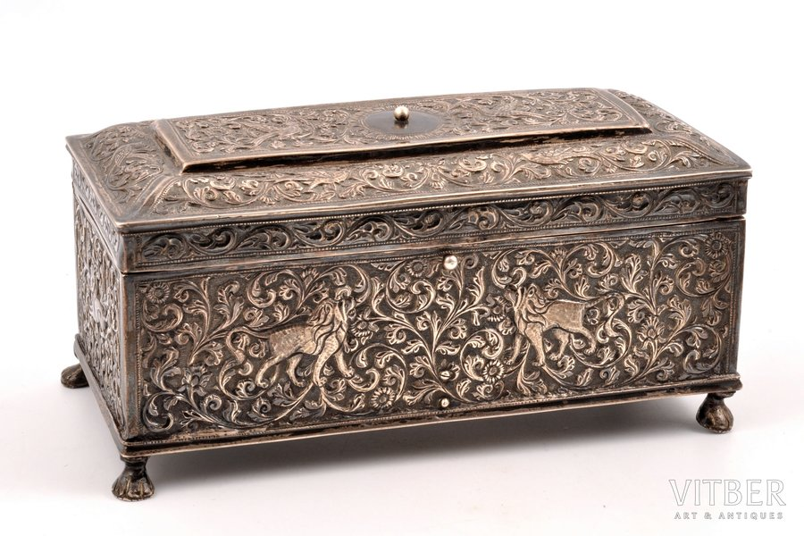 cigar-case, silver, 830 standart, silver stamping, silver weight 525.65g, Finland, 18.6 x 8.7 x 9 cm