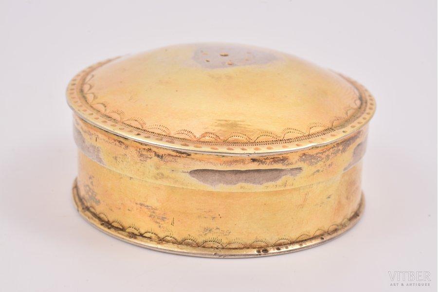 lādīte, sudrabs, gravējums - Johann Gottfried Ruhendorf (1783-1792 Piņķu draudzes mācītājs), apzeltījums, ~ 1790 g., 62 g, meistars Iogans Fridrihs Doršs, Rīga, Ø 5.5 / h 2.5 cm