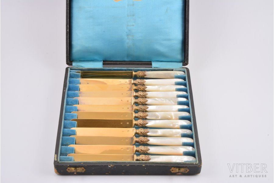 dessert knife set, silver, 800 standart, 12 pcs., gilding, nacre, total weight of items 370.6g, France, 18.7 cm, in a box