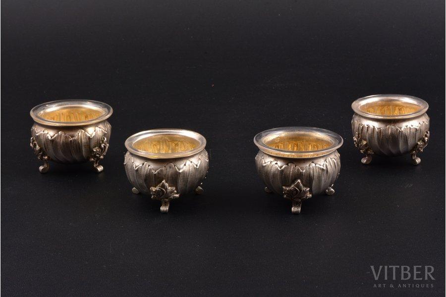 комплект из 4 солонок, серебро, стекло, 950 проба, вес серебра 120.10г, Франция, h 3.3 см, Ø 4.3 см