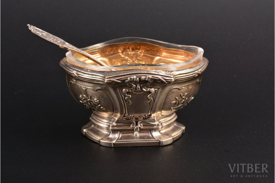 saltcellar and spoon for salt, silver, 950 standart, silver weight 17.90g, France, 6.5 x 4.6 x 3.7 cm, spoon 7 cm