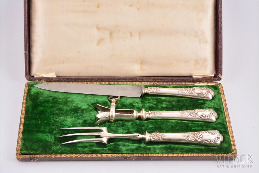 meat carving set, silver, 950 standart, 3 items, metal, total weight of items 364.70g, France, 32.7 / 27.7 / 21.4 cm, in a box