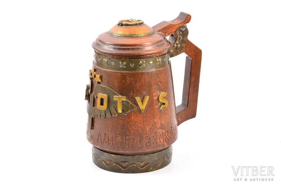 cup of the Daugavpils railway school, DVAS-DTVS, Daugavpils state school-Daugavpils technical secondary school (former names of the same educational institution), Daugavpils railway school badge on the lid, wood, Latvia, the 30ties of 20th cent., h 19 cm