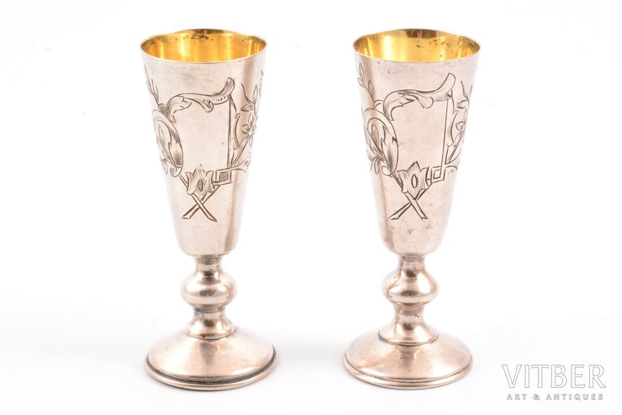pair of little glasses, silver, 84 standart, engraving, 1896-1907, 54.70 g, Moscow, Russia, h 8.2 cm