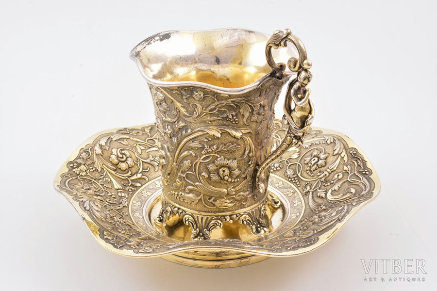 tējas pāris, sudrabs, 950 prove, apzeltījums, 1828-1874 g., 520.65 g, meistars Francois Durand, Parīze, Francija, h (tasīte) 12.5 cm, apakštasīte 19x18.4 cm