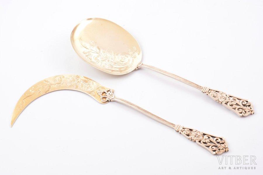 galda piederumu komplekts saldējuma servēšanai, sudrabs, 950 prove, 2 priekšmeti, 1832-1840 g., 128.10 g, meistars Jean Francois Veyrat, Francija, 23.4 / 22.5 cm