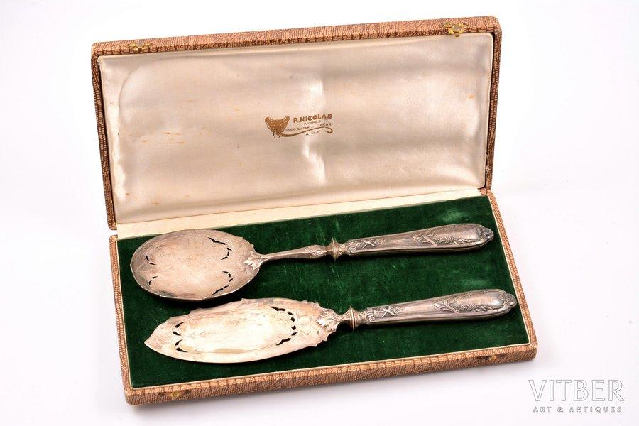 комплект столовых приборов, серебро, 950 проба, 2 предмета, 212.75 г, Франция, 25.5 / 25.6 см, в коробочке
