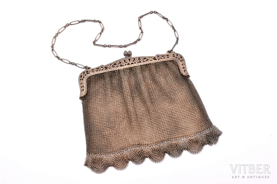 an evening bag, silver, 950 standart, chainmail, 239.50 g, France, 17.5 x 21 cm