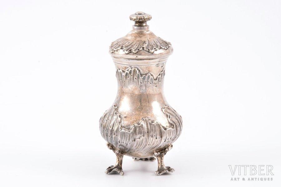 piparu trauks, sudrabs, 950 prove, 1883-1911 g., izstrādājuma kopējais svars 139.55g, Alphonse Debain, Francija, h 10 cm