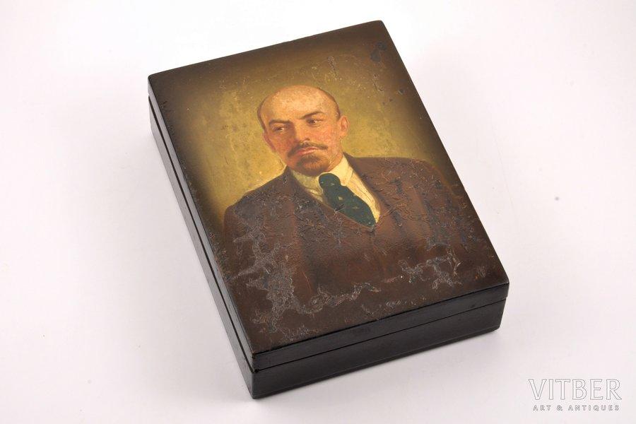 case, V. I. Lenin, Fedoskino, USSR, 25.5 x 18.7 x 6.5 cm