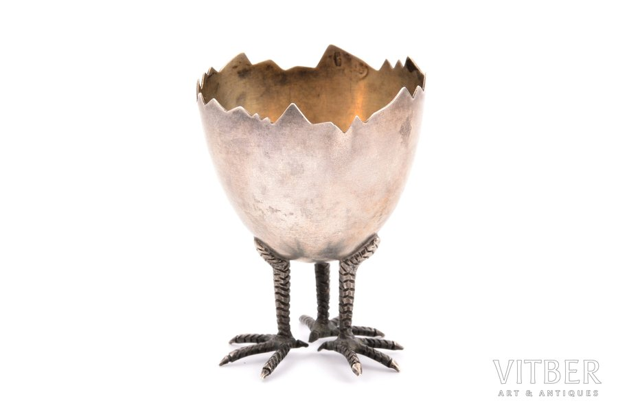 egg holder, silver, 875 standart, the 30ties of 20th cent., 21.20 g, Estonia, h 5.7 cm