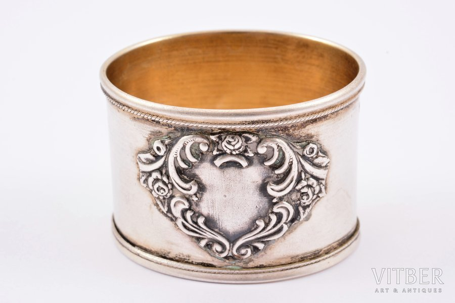 serviette holder, silver, 875 standart, the 20-30ties of 20th cent., 11.65 g, Latvia, 2.8 x 4 x 3.2 cm
