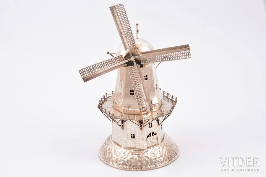 """besamim  - garšvielu trauciņš, sudrabs, 833 prove, """"Vējdzirnavas"""", jūdaika, 196.65 g, Nīderlande, h 18.5 cm, metinājuma pēdas uz pamatnes"""