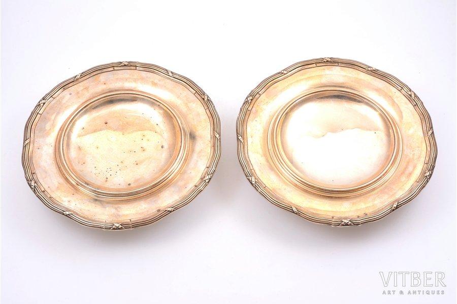 пара фруктовниц, серебро, 950 проба, 1897-1912 г., 884.65 г, Risler & Carré, Париж, Франция, Ø 23.1 см