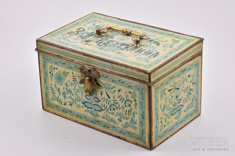 box, Z. I. Ibatulin's Tea Shop in Perm, metal, Russia, the border of the 19th and the 20th centuries, 12 x 20.9 x 13.1 cm