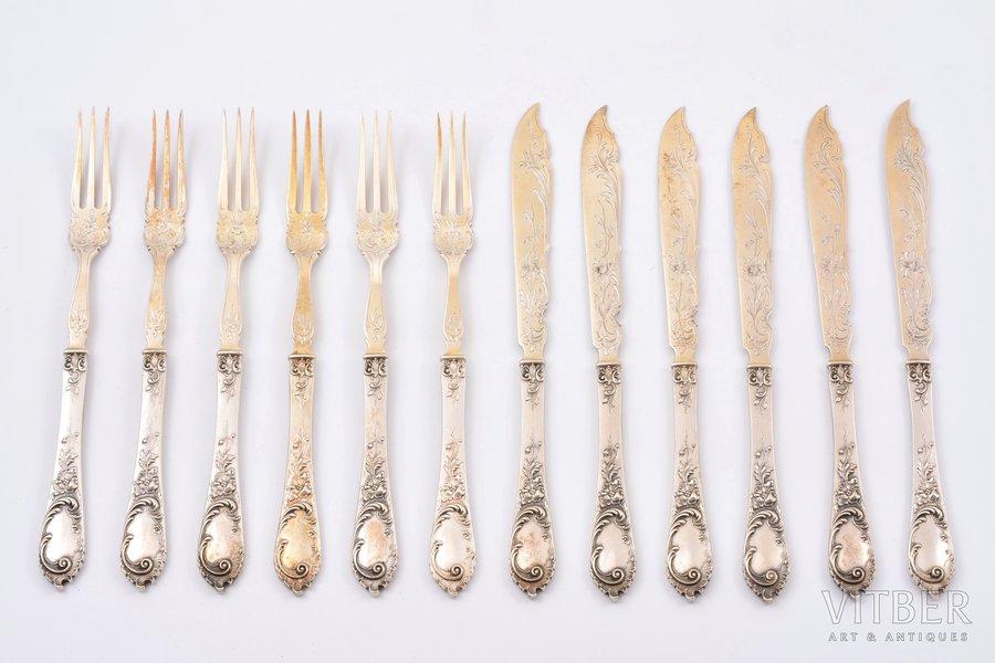 комплект столовых приборов, серебро, 800 проба, 6 десертных вилок и 6 десертных ножей, 350.45 г, Германия, 17.3 / 16.5 см
