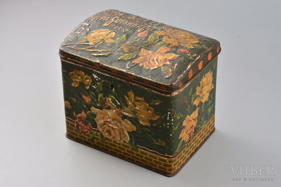 "tea box, ""Petra Botkina Sons"" Society, Moscow, metal, Russia, the border of the 19th and the 20th centuries, 12.4 x 14.2 x 10.4 cm"