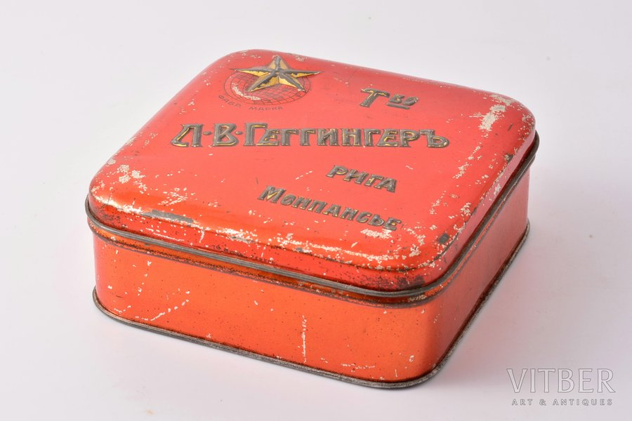 candy box, L. V. Geginger's Society, Riga, metal, Russia, the beginning of the 20th cent., 4.4 x 11 x 11 cm