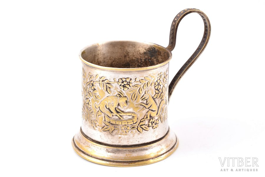 "tea glass-holder, ""Fox and goat"", german silver, USSR, the 40-50ies of 20 cent., Ø (inside) 6.6 cm, h (with handle) 10.1 cm"