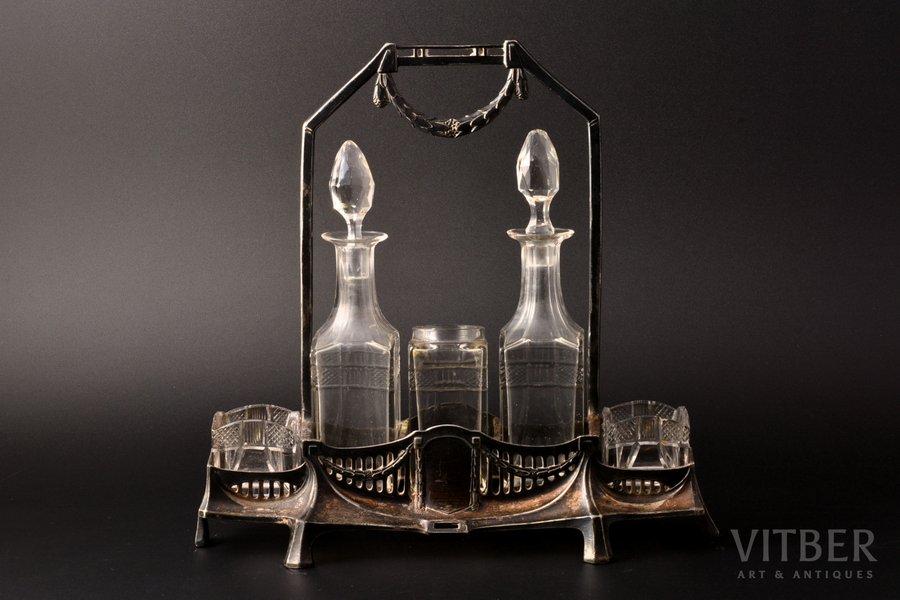 komplekts garšvielām, apsudrabots, stikls, Krievijas impērija, Polijas Karaliste, 26.7 x 10.2 x 25.4 cm, trūkst vāks, nošķēlumi uz stikla