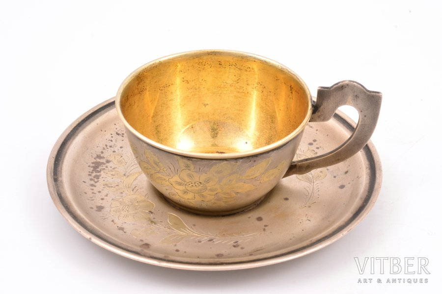 tea pair, silver, 875 standart, engraving, 1957, 100.60 g, Moscow, USSR, h (cup with handle) 4 cm, Ø (plate) 10.7 cm