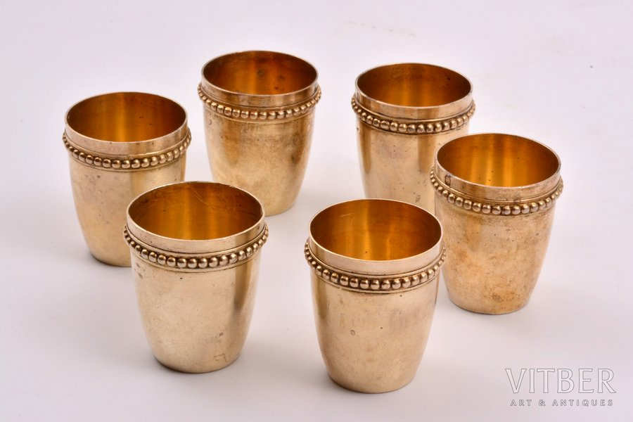set of 6 beakers, silver, 950 standart, 107.25 g, France, h 4 cm