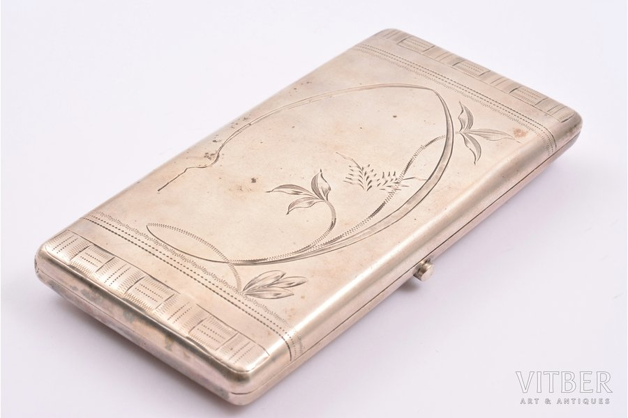 cigarette case, silver, 84 standart, engraving, 1908-1917, 156.50 g, Moscow, Russia, 11.2 x 6.4 cm